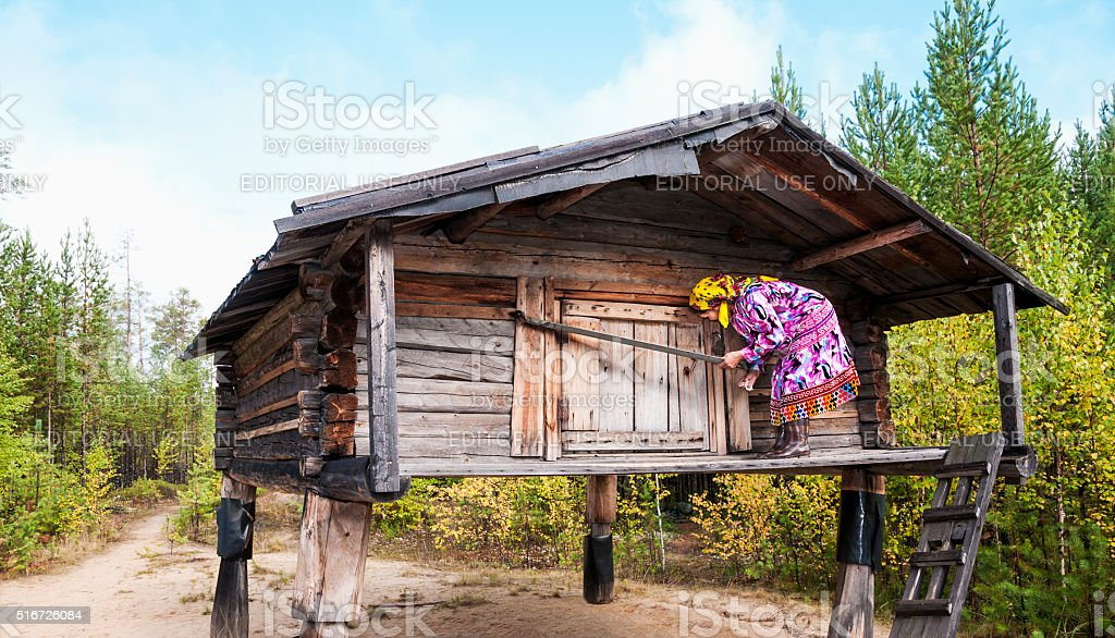 Typical wooden barn indigenous peoples of the North - Hunts stock photo
