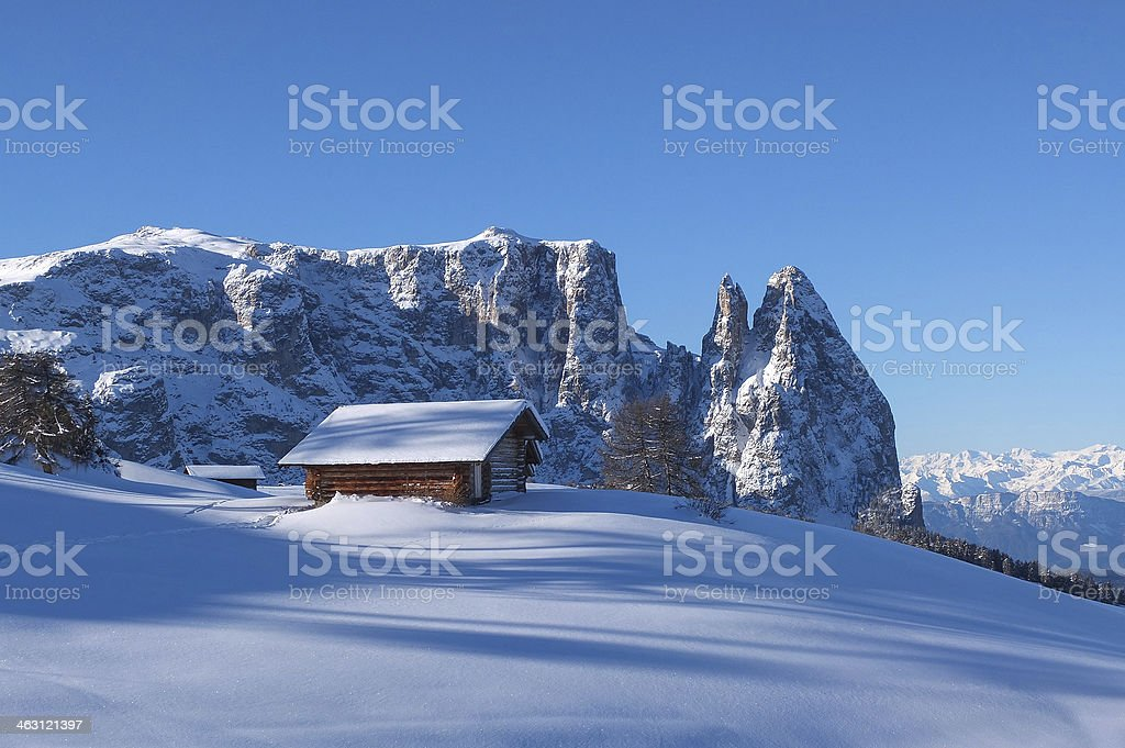 Typical wooden challet in the Dolomites stock photo