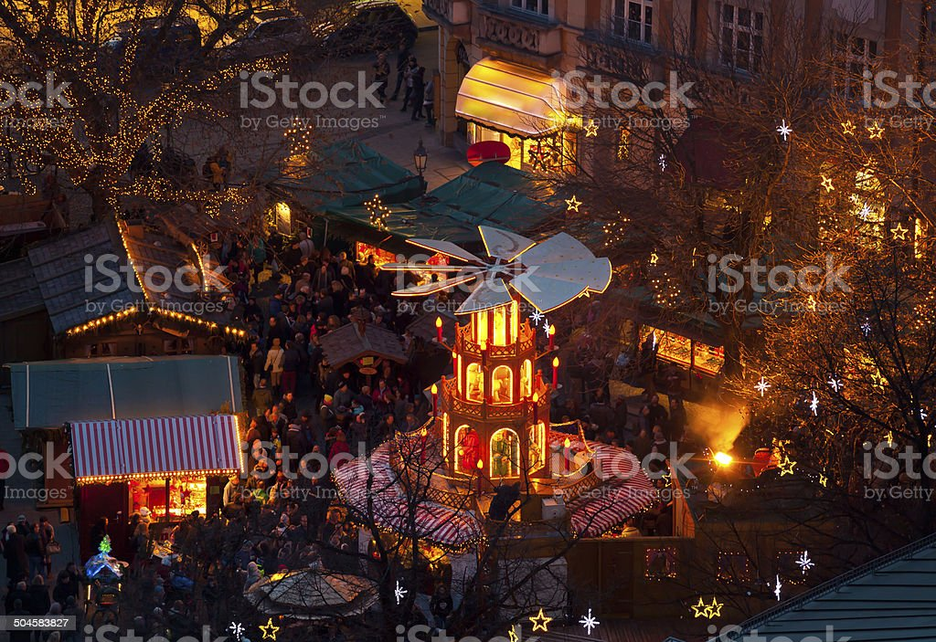 Typical wooden christmas carousel, Munich stock photo