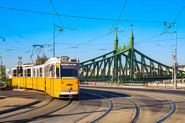 Typical Yellow Tram in Budapest Hungary Photo of an old, typical, yellow tram and tracks with the Liberty Bridge in the background in downtown Budapest, Hungary. liberty bridge budapest stock pictures, royalty-free photos & images