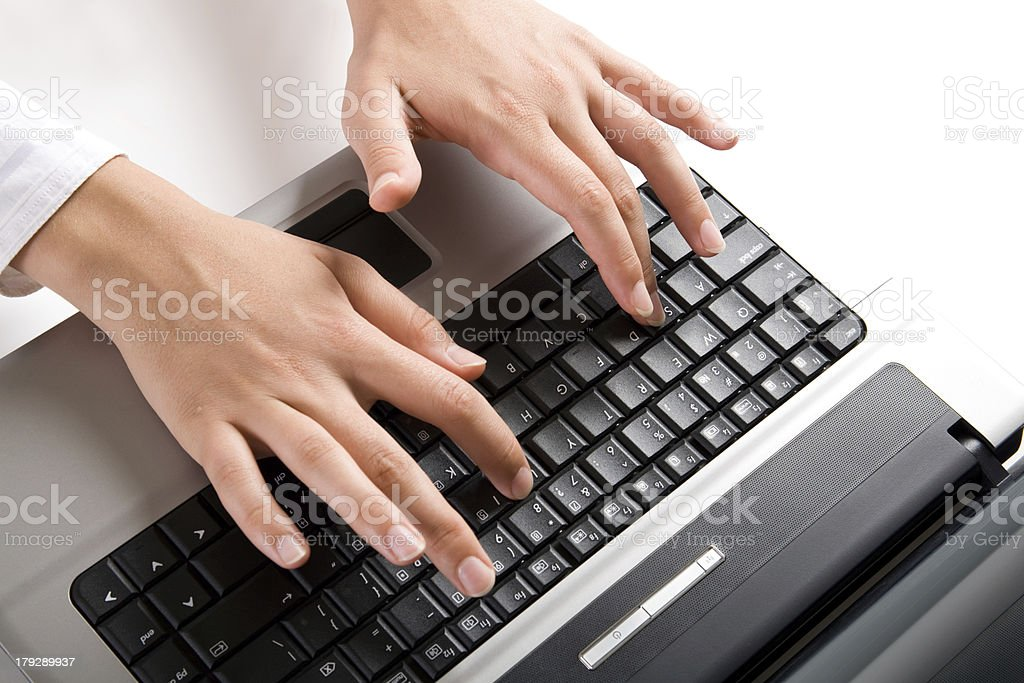 Typing a letter royalty-free stock photo