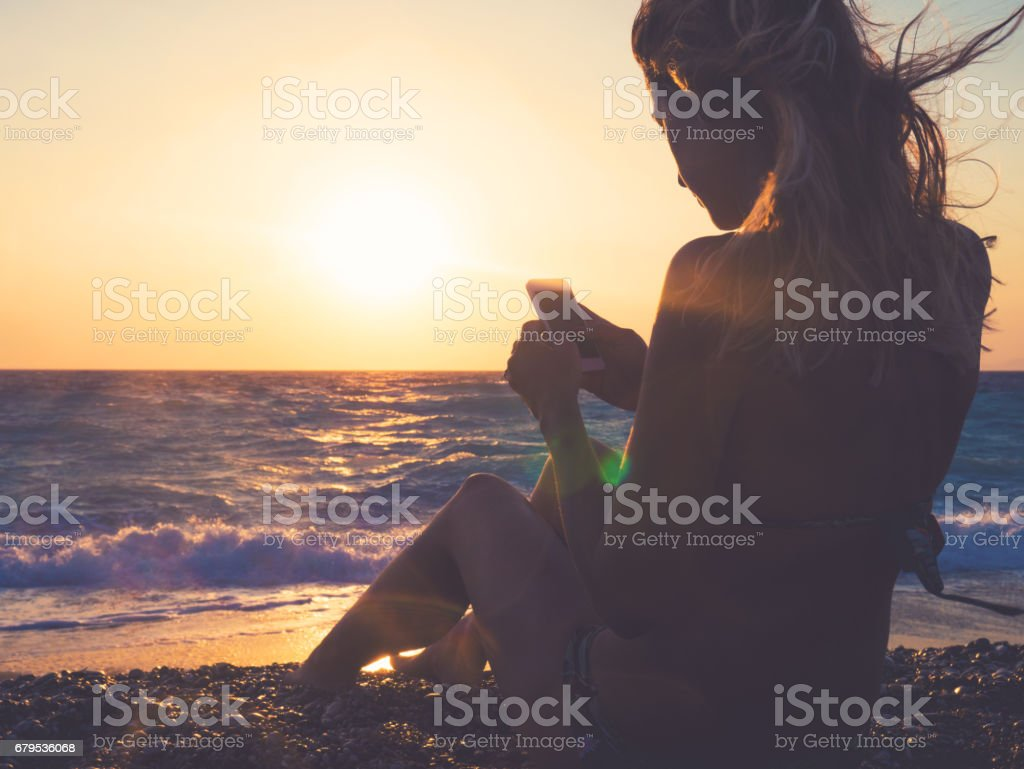 Typing a message royalty-free stock photo