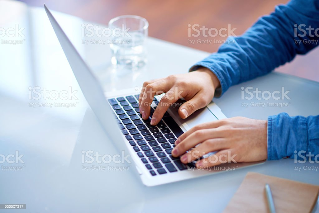 Typing e-mail message stock photo