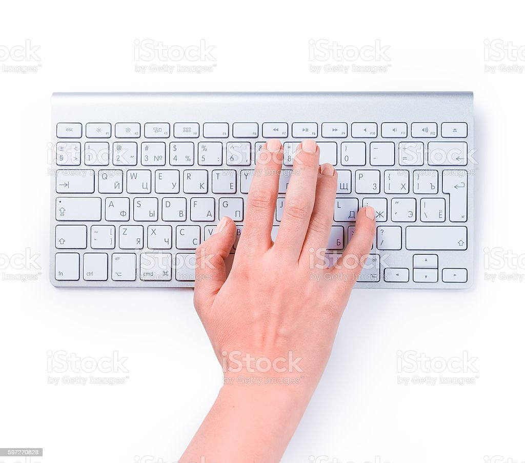 Typing femle hand on keyboard isolated over white Lizenzfreies stock-foto