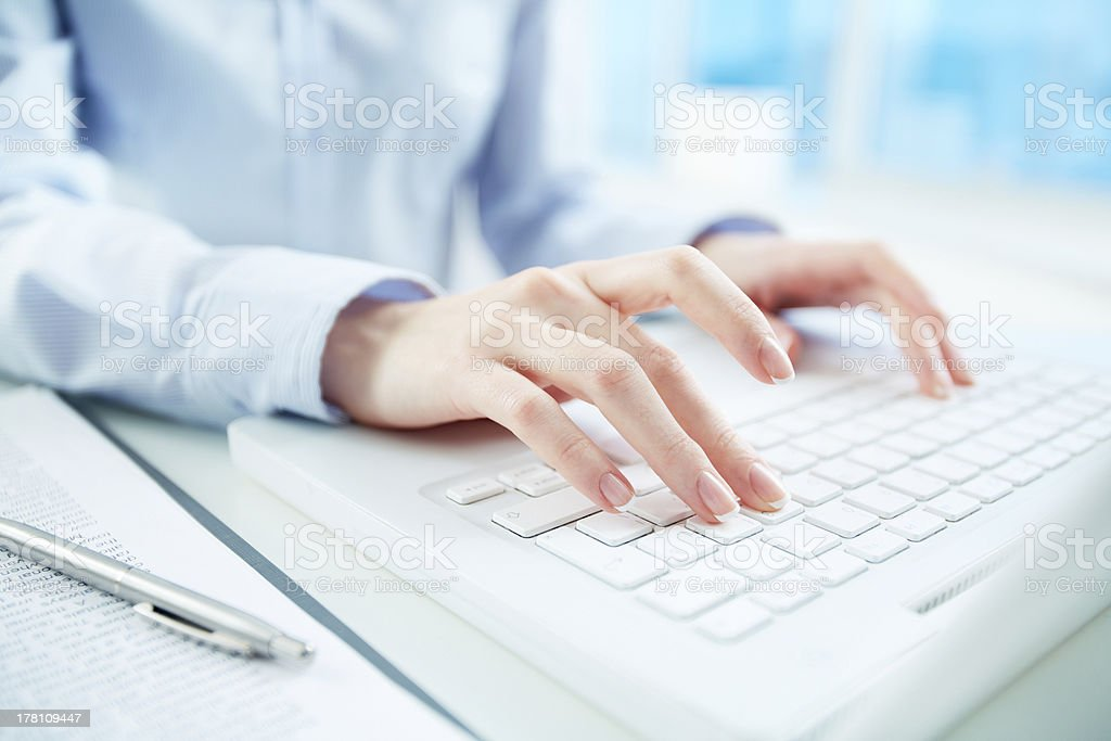 Typing hands royalty-free stock photo