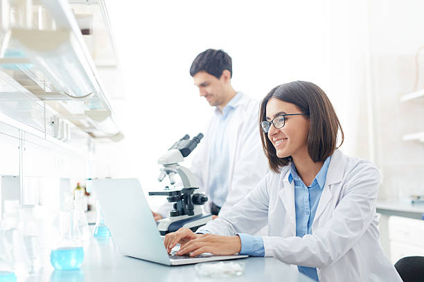 Typing in lab stock photo