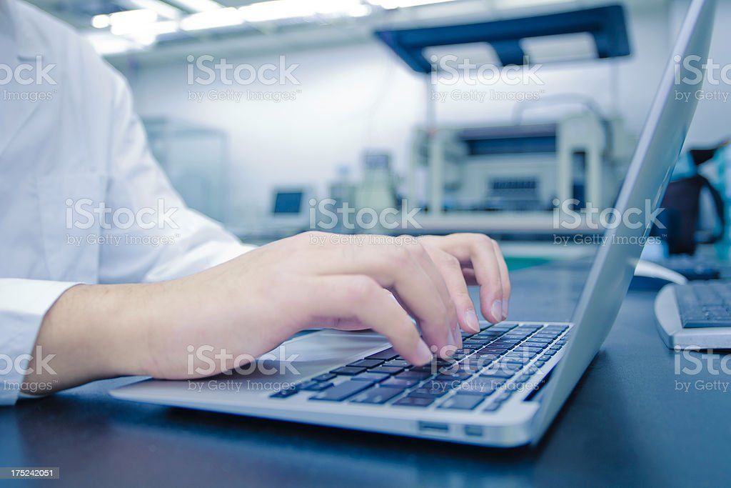 typing in laboratory stock photo
