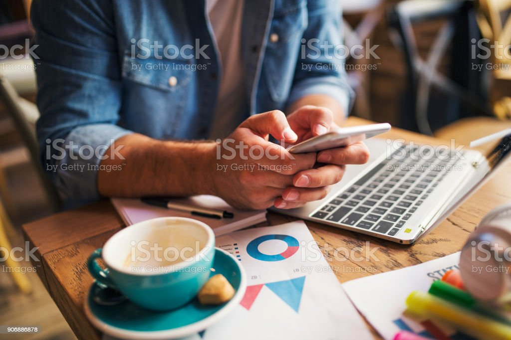 Typing message stock photo
