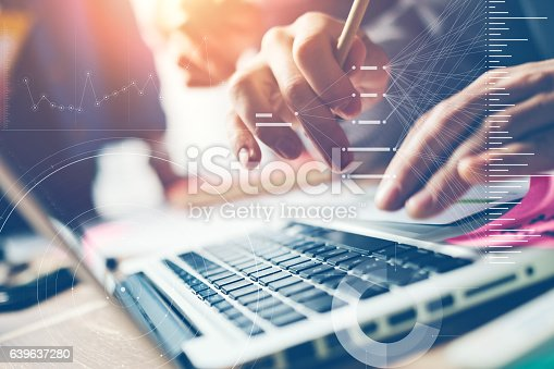 istock Typing on laptop close-up. Man working on computer 639637280