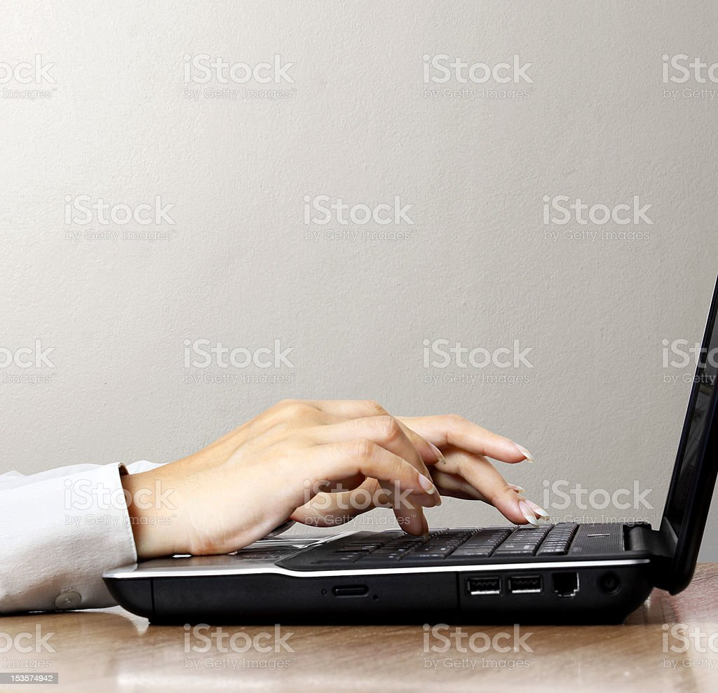 typing on the keyboard royalty-free stock photo