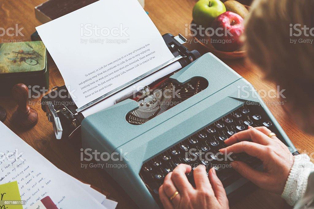 Typing Typewriter Vintage Style Alphabet Concept stock photo