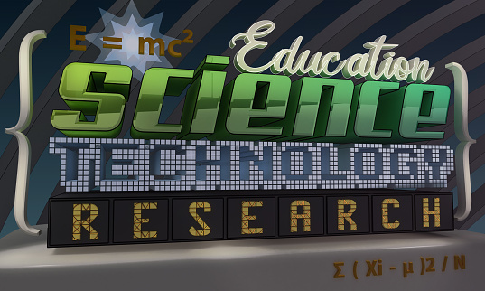 3D tags rendering - Education, Science, Technology, Research and formulae. Typography image.
