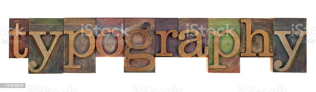 typography in old letterpress type royalty-free stock photo