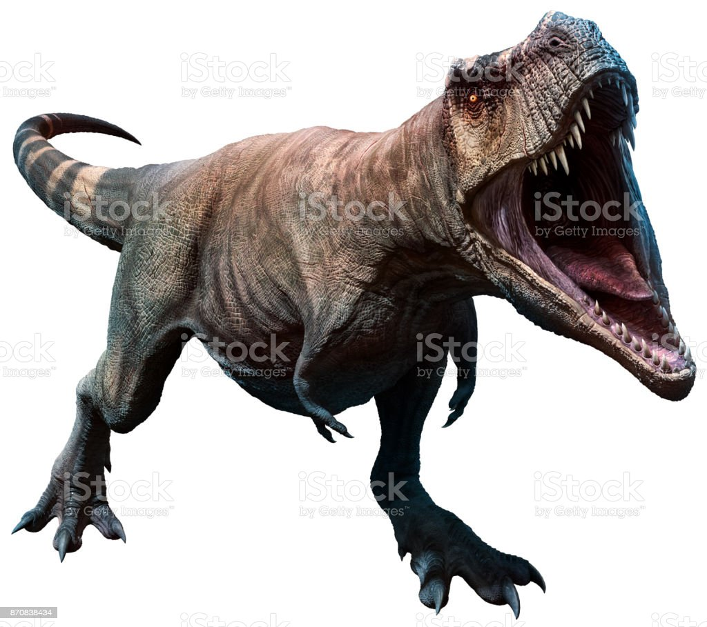 Tyrannosaurus about to bite stock photo