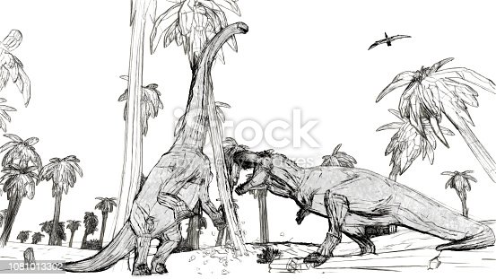 istock tyrannosaurus fight against diplodocus 1081013302