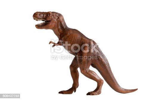 tyrannosaurus rex dinosaur plastic toy isolated on white background