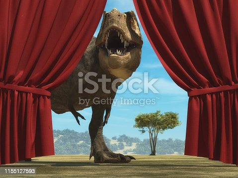 Tyrannosaurus Rex enters on stage through opened curtain. This is a 3d rende illustration