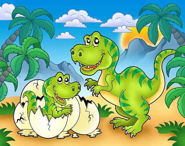 tyrannosaurus rex in landschaft - dinosaurier illustration stock-fotos und bilder