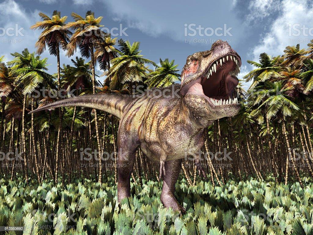 Tyrannosaurus Rex in the jungle stock photo