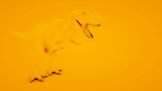 istock Tyrannosaurus Rex on orange background. Minimal idea concept, 3d illustration 1199691776