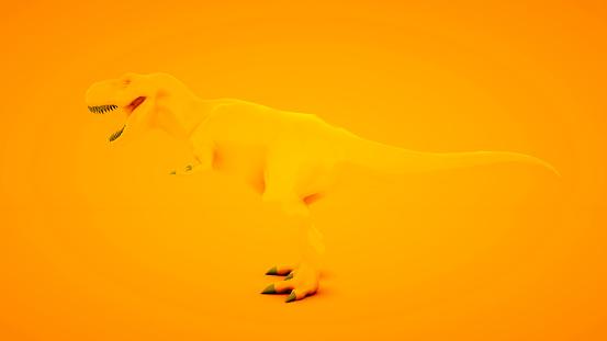 istock Tyrannosaurus Rex on orange background. Minimal idea concept, 3d illustration 1199965541
