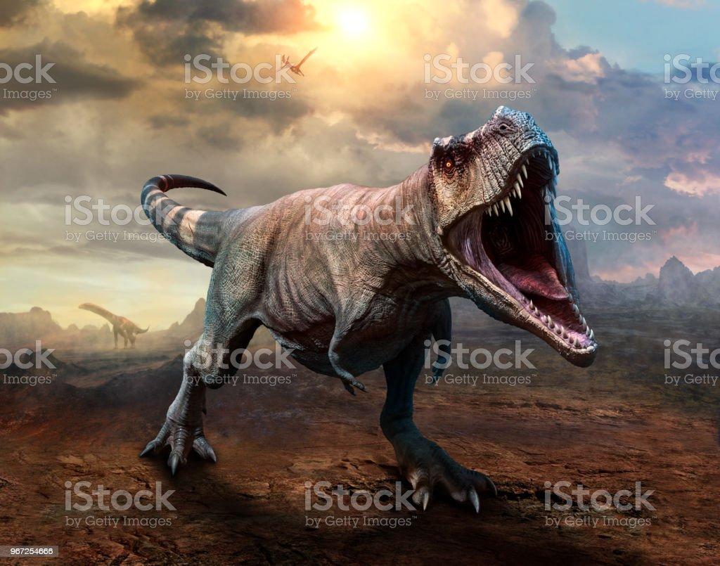 Ilustração 3D de cena de Tiranossauro rex - foto de acervo