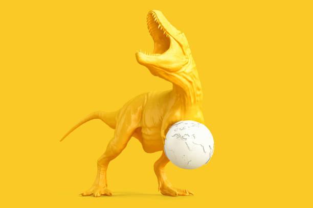 Tyrannosaurus with earth globe. 3D rendering stock photo