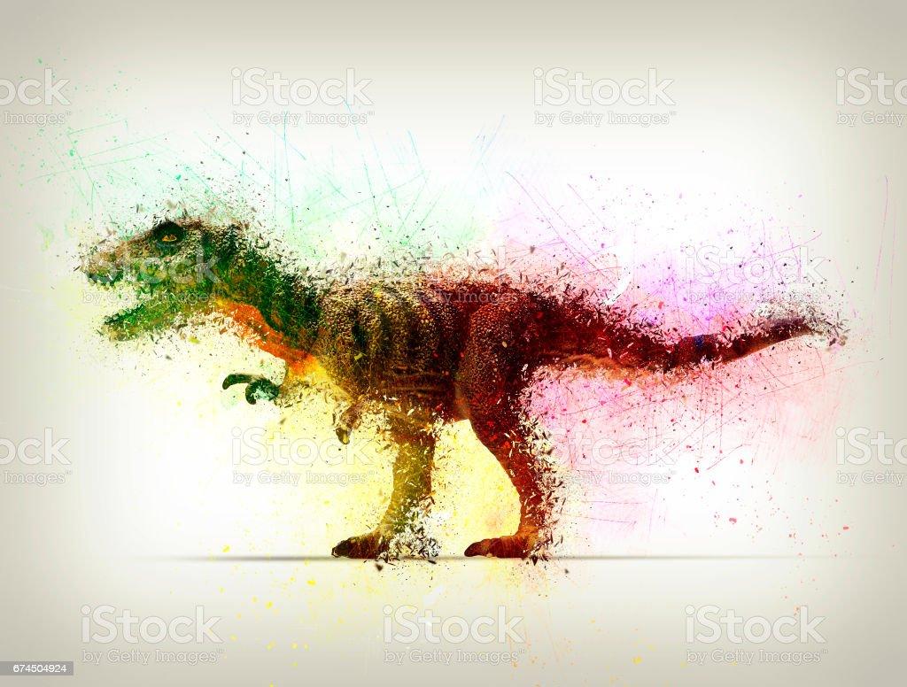 tyrannosaurus-rex shattering stock photo