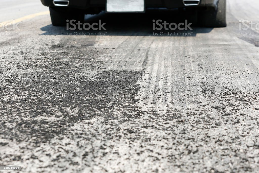 Tyre burnout marks on asphalt road stock photo