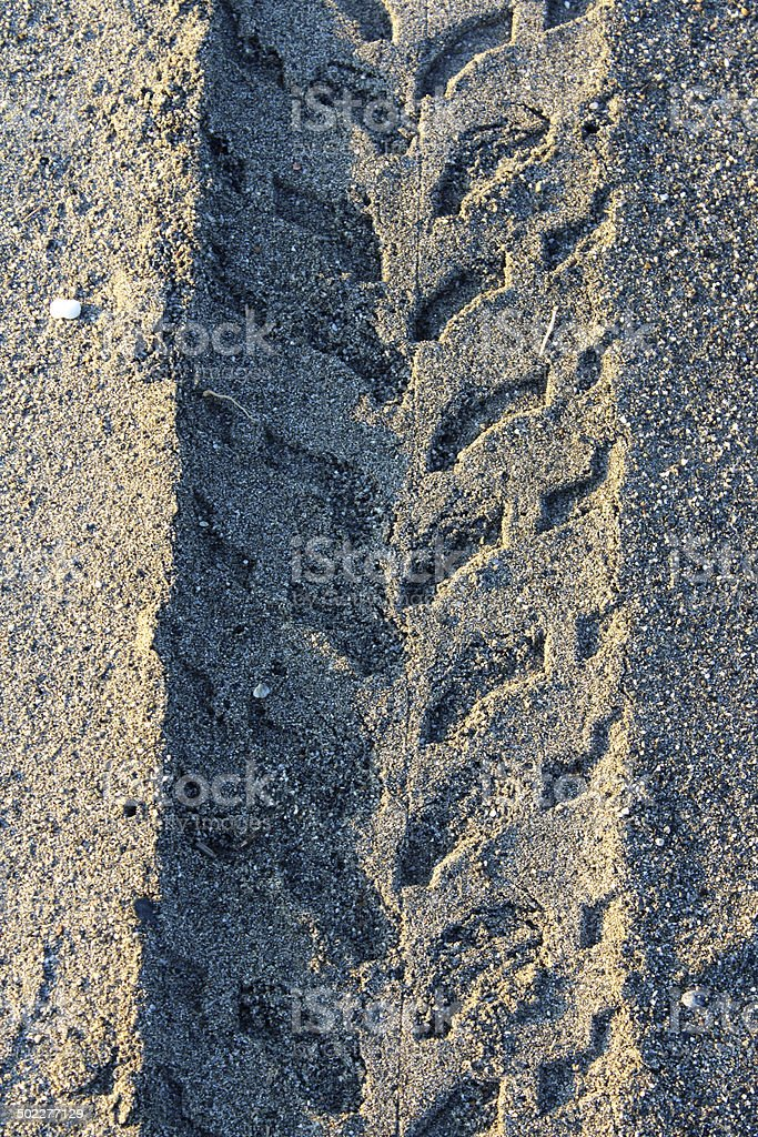 Tyre Imprint on Sand stock photo