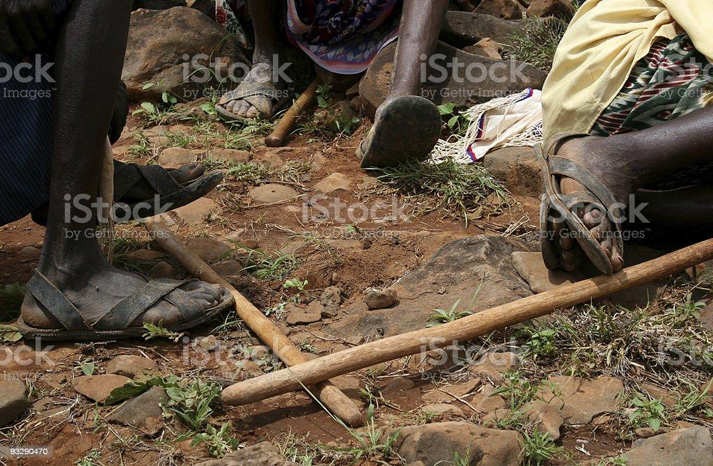 tyre sandals: meeting of gabbra elders in Kenya stock photo