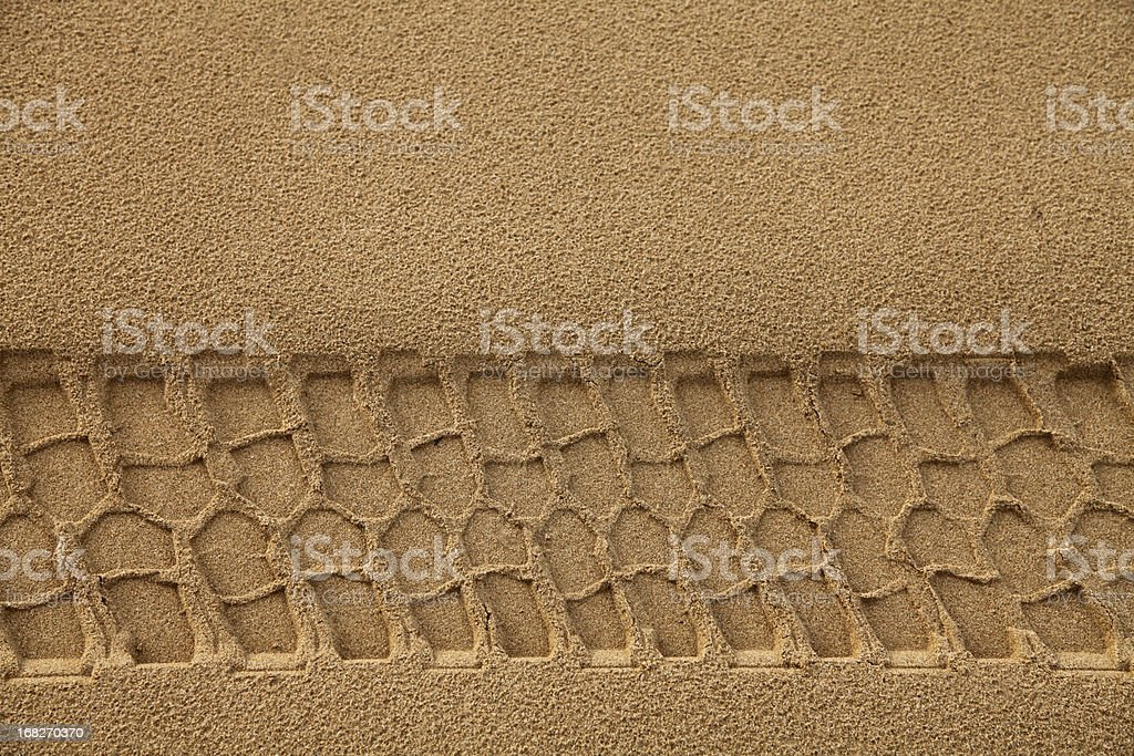 Tyre Track in Sand stock photo