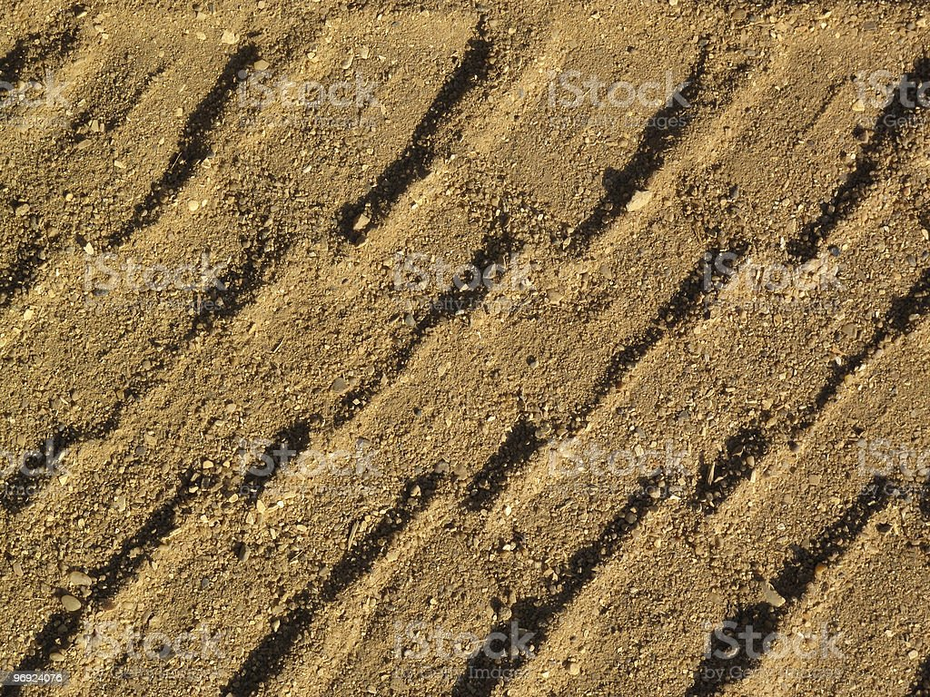 Tyre Track In Sand royalty-free stock photo