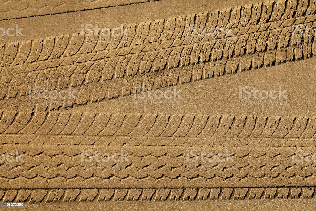 Tyre Tracks in Sand stock photo