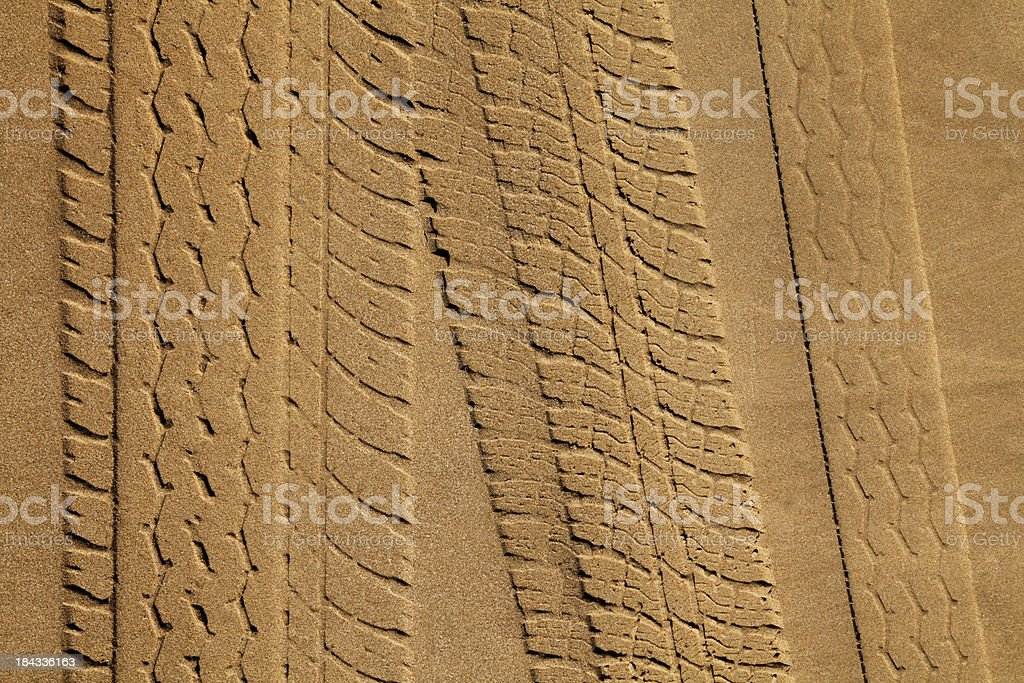 Tyre Tracks in Sand royalty-free stock photo