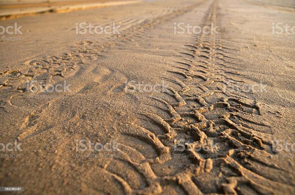 Tyre tracks on a sandy beach royalty-free stock photo