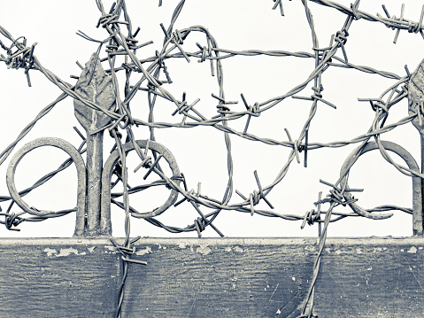 Barbed wire topped wrought iron gate found in the countryside region of Trentino-South Tyrol and the Dolomites in Italy