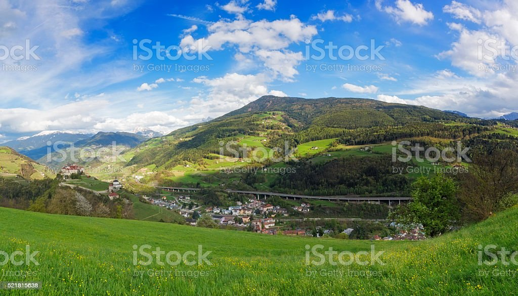 Tyrol with brenner highway and Monastero di Sabiona stock photo