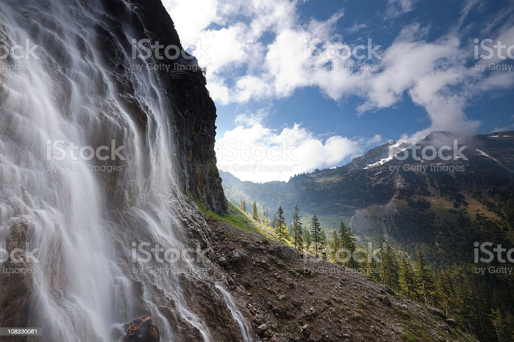 tyrolean cascade captured by long time exposure stock photo
