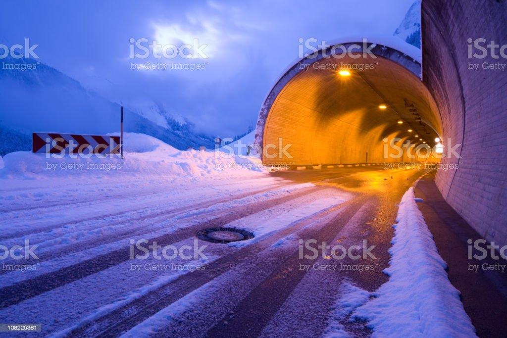 tyrolean tunnel, frozen winter road royalty-free stock photo