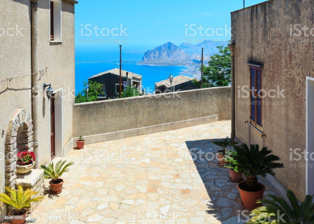 Tyrrhenischen Meer und Cofano Rock von Erice, Sizilien, Italien – Foto