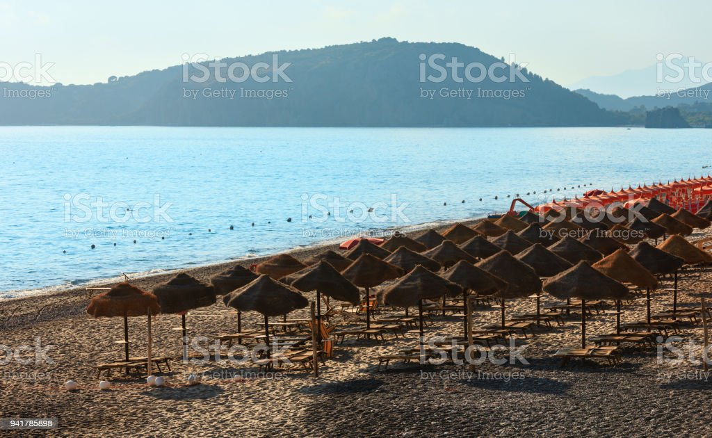 Tyrrhenian sea beach, Campania, Italy stock photo