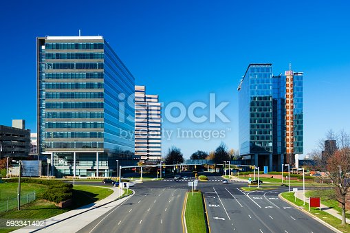 Highrise buildings in Tysons Corner, Virginia.  Tysons Corner is part of the Washington DC Metropolitan Area.