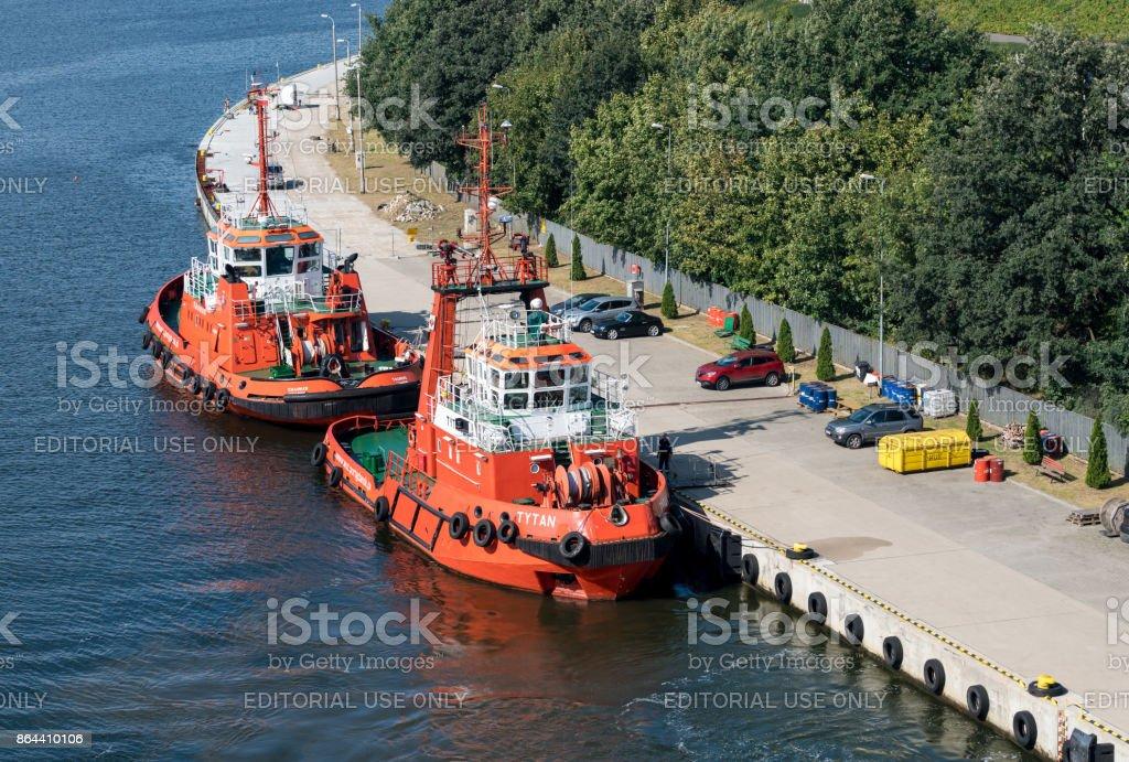 Tytan tugboat in Gdansk, Poland stock photo