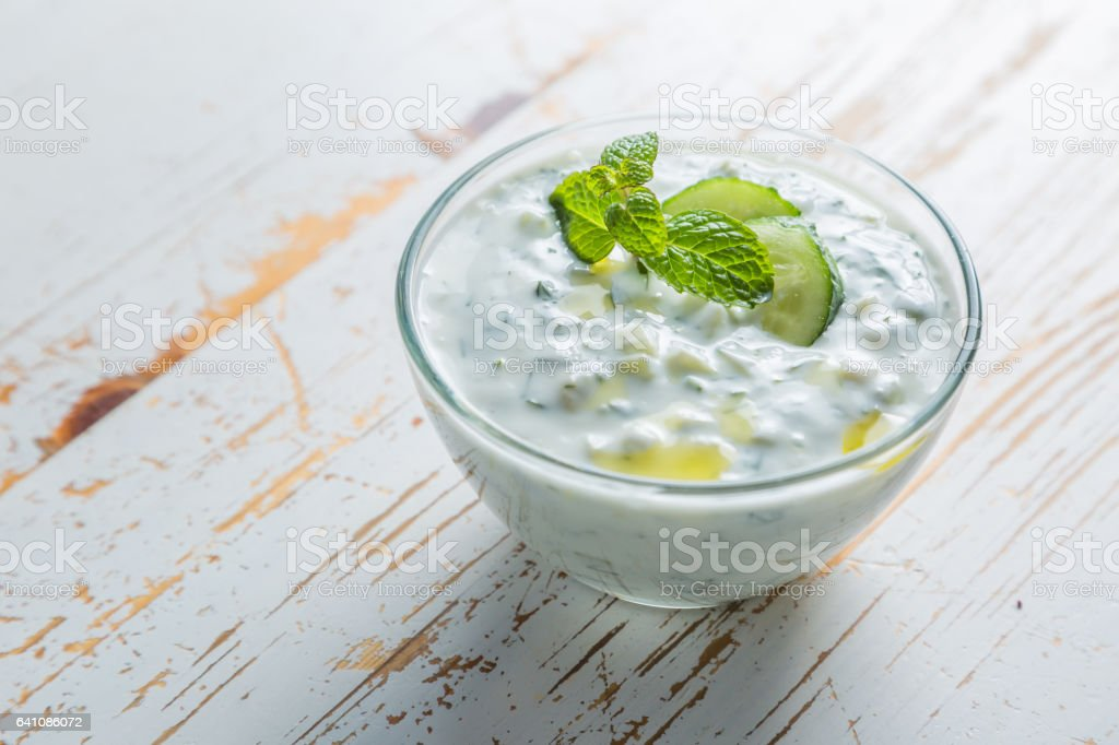 Tzatziki sauce and ingredients stock photo
