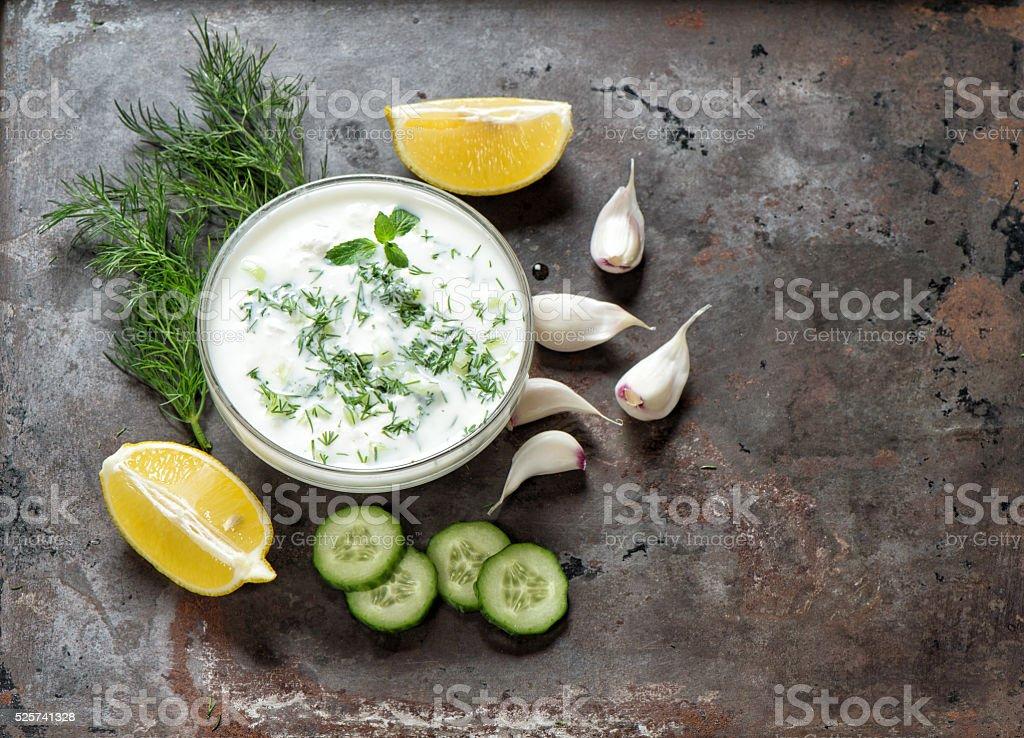 Tzatziki sauce Fresh dip with herbs dill mint Food stock photo