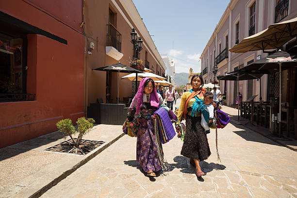 Tzotzil women, indigenous Maya people stock photo