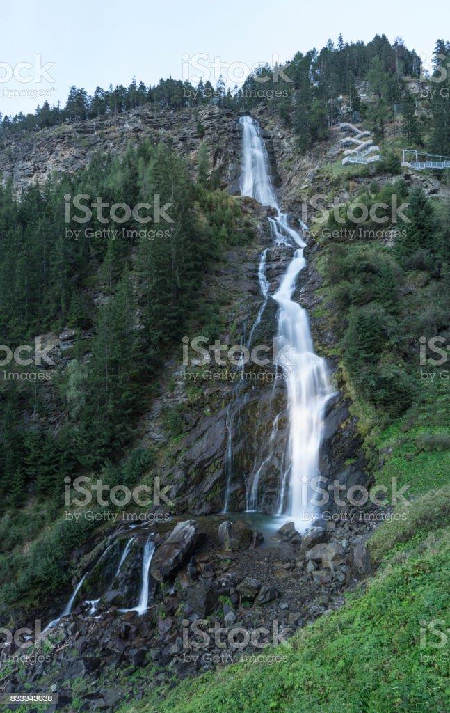 Ötztal Valley mountain river. Stuibenfall Waterfall. Österreich, Niederthai, Oetz, Austria, Europe stock photo