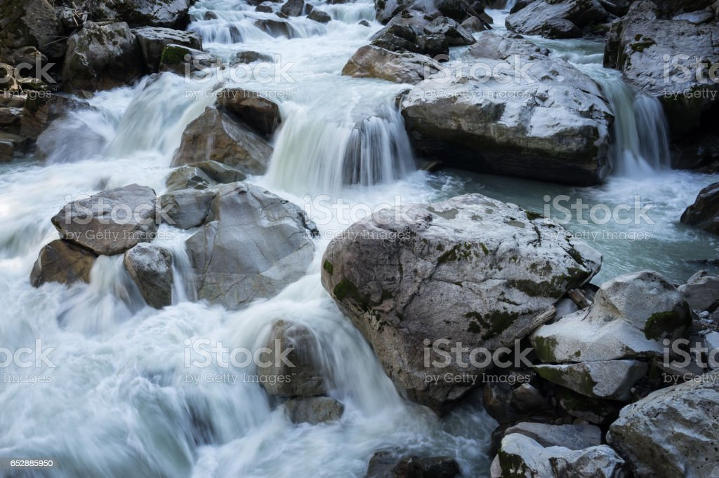 Ötztal Valley mountain river. Wellerbrück. Ötztaler Ache, Oetz, Austria, Europe stock photo