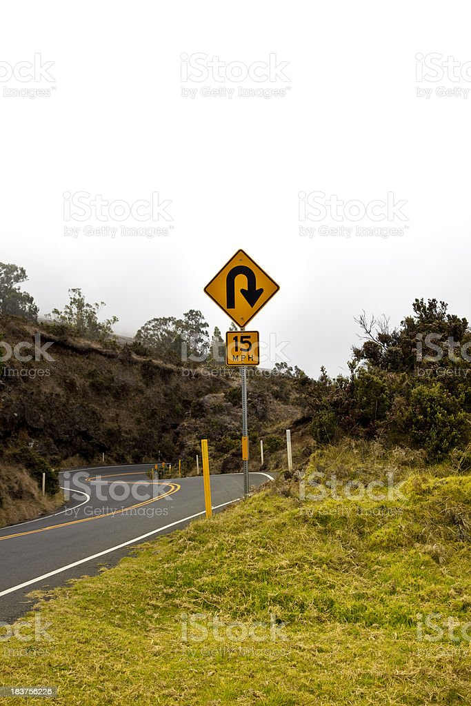 u turn sign with copy space royalty-free stock photo